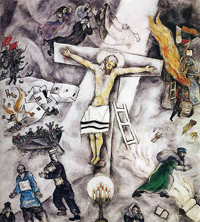 """Marc Chagall'ın 1938 tarihli """"Beyaz Çarmıha Geriliş"""" isimli eseri. Bu çalışma İsa'yı Yahudi bir şehit olarak göstererek 1930'larda Avrupa'da Yahudilerin yaşadığı acıya ve işkenceye dikkat çeker."""