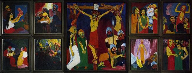 """Dejenere Sanat sergisinde yer alan Emil Nolde'nin """"İsa'nın Yaşamı"""" isimli resmi. Nolde, eserleri Nazizm'in sanat anlayışına göre uygun olmadığı hâlde en fazla sayıda eseri olanlar arasındaydı. Sanatçının eserleriyle alay edildi ve müzelerde bulunan eserleri koleksiyondan çıkarıldı. Nolde kısa bir dönem Nazi Partisi'ne katılmıştı."""